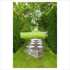 Paving between Taxus - Yew hedges to protect a grass pathway leading to the Ilex avenue - Arley Hall, Cheshire, early July