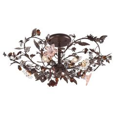 Cast a warm glow in your entryway or den with this lovely semi-flush mount, showcasing a vine-inspired design and deep rust finish.    P...
