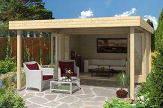 Flachdach Gartenhaus in Naturholz, mit einladender
