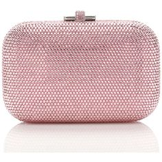 Judith Leiber Couture Crystal Slide-Lock Clutch Bag (£1,490) ❤ liked on Polyvore featuring bags, handbags, clutches, bolsas, judith leiber, purses, silver light rose, man bag, red hand bags and kiss-lock handbags