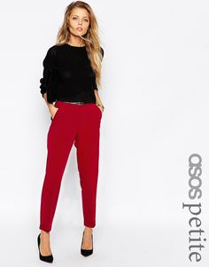 Image 1 of ASOS PETITE Cigarette Pant With Belt
