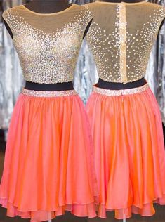 Fabulous Two-piece Bateau Cap Sleeves See Through Back Homecoming Dress Beaded