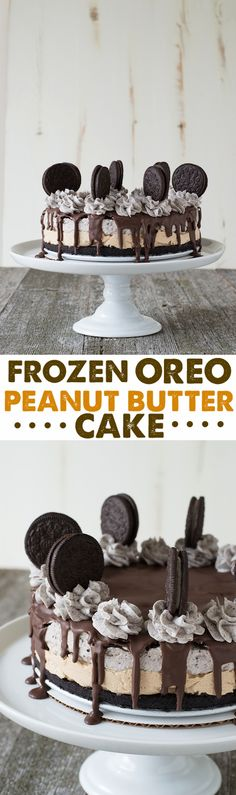 Frozen Oreo Peanut Butter Cake - a delicious frozen cake with a peanut butter layer and an oreo layer. Complete with oreo buttercream and oreos!