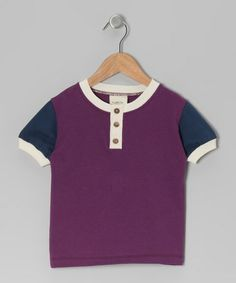 Take a look at this Purple & Dark Blue Organic Henley - Toddler & Boys by YuMiChi Kids on #zulily today!
