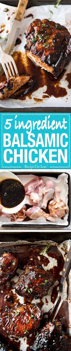 Balsamic vinegar, soy sauce, honey, sugar and garlic is all you need to make this super easy and fast Baked Balsamic Chicken! No marinating required.