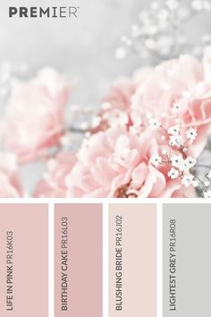 Beautiful blossom colour palette #PaintWithPREMIER  Life in Pink: PR16K03  Birthday Cake: PR16L03  Blushing Bride: PR16J02  Lightest Grey: PR16R08