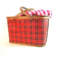 vintage tartan picnic basket..