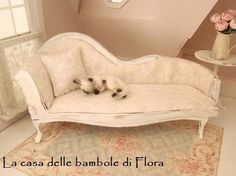 French Marie Antoinette chaise long day bed - 1/12 dolls house dollhouse miniature. $55.00, via Etsy.