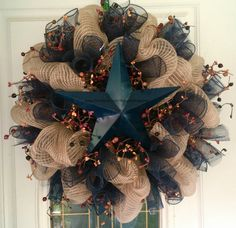 Rustic Bulap Star Wreath by TheJunkWhisperer2 on Etsy