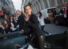 Kim Kardashian Photos Photos - Kim Kardashian and her boyfriend Kanye West arriving at the Ferdi restaurant in their rented white Lamborghini in Paris, France on June 17, 2012 - Kim And Kanye Arriving At The Ferdi Restaurant