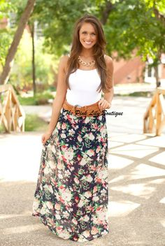 The Pink Lily Boutique - Navy Floral Belted Maxi Skirt, $34.00 (http://thepinklilyboutique.com/navy-floral-belted-maxi-skirt/)