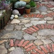 Recycled Brick in the Garden - this would be a great transition from the brick walk to the flagstone patio