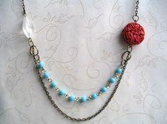 Boho Necklace  blue and red  turquoise beaded by botanicalbird, $24.00