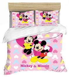 MICKEY MINNIE MOUSE FULL SIZE DUVET COVER WITH TWO PILLOW CASES 3 PC SET Minnie Mouse Bedding, Disney Bedding, Mickey Minnie Mouse, Full Size Duvet Cover, Kids Bedding Sets, Soo Jin, Kids Blankets, Soyeon, Throw Pillow Cases