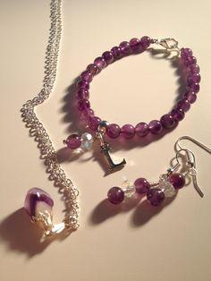 Personalised Amethyst Jewellery Set on Etsy, £42.00