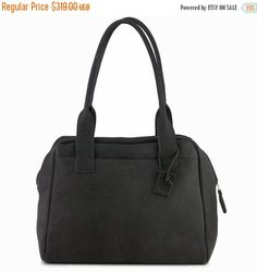 Ash Black Leather Tote Bag / Soft Leather Women Bag / Messenger Bag / Office Bag / Suitcase Bag / Lined Shoulder Bag / Leather Purse - Aviv