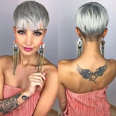 - New Hair Styles Funky Hairstyles, Pretty Hairstyles, Style Hairstyle, Fade Haircut, Pixie Haircut, Short Hair Cuts, Short Hair Styles, Pixie Cuts, Corte Y Color