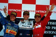 Damon Hill on the podium after winning the 1994 British GP at Silverstone
