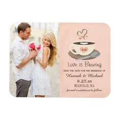 Monogrammed Heart Blush Coffee Cup Save the Date Magnet Love is brewing! Espresso your joy for your upcoming nuptials with a latte love with these pretty coffee themed save the date magnets in cream, brown, blush and silver hues with a cup of coffee that can be monogrammed with the initials and monogram of the bride and groom on its blush colored peachy pink heart design. This steaming cup of joe on a saucer with a spoon on it has a foam heart floating in it. Artwork © Chrissy H. Studios…