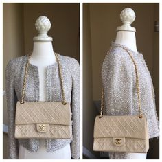 ‼️LAST CHANCE ️️ CHANEL Beige Classic Flap Bag ️️ price only. In good condition but definitely visible signs of age. No stains, rips, or tears but there are wrinkles in the leather on the front. Some light wear on the gold clasp. Squares are not puffy in all areas but really gorgeous. Comes with box & auth card. The bag no longer possesses its serial sticker but authenticity is guaranteed. There is a sticker which chanel bags do possess though it's not the serial. 24 hour availability only…