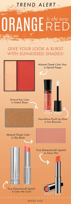 Looking for a brand new bold beauty move? Put the red to bed and bring out a sun-kissed orange palette. | Mary Kay
