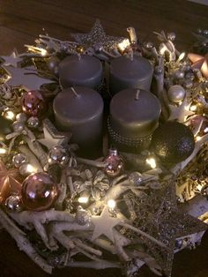 Advent, Tea Lights, Candles, Center Pieces, Mesas, Navidad, Summer Recipes, Decorations, Tea Light Candles