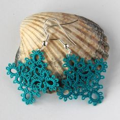 Teal earrings, diamond shaped, handmade jewellery