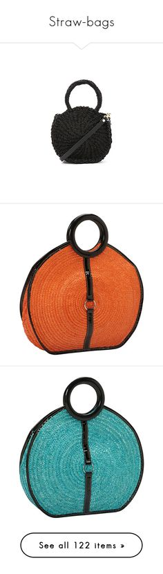 """""""Straw-bags"""" by missy-smallen ❤ liked on Polyvore featuring bags, handbags, tote bags, straw purse, handbags totes, man bag, woven straw handbags, woven tote bags, orange and round bag"""