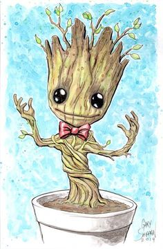 Baby Groot with Bow Tie  11 x 17 Signed Art by GaryShipmanArtStore, $20.00