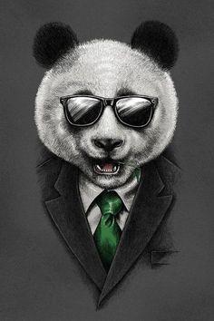 Check out the design Agent Panda by Jerry Maninang available on Tote Bag on Threadless Panda Love, Cute Panda, Anime Panda, Panda Design, Ps Wallpaper, Street Art, Panda Wallpapers, Fu Dog, Design Graphique