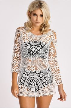 SALMA WHITE CROCHET COVER UP