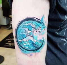 Circular Watercolor Wave Tattoo by Joanne Baker