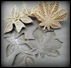 large Handcarved leaf  bisque  stamp for stamping on by MoldingU, $14.00