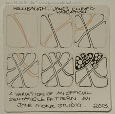 Jane Monk Studio, Certified Zentangle Teacher, offers this inspiring variation on Holibaugh, an official Tangle.