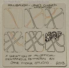 Jane Monk Studio, Certified Zentangle Teacher, offers this inspiring variation on Holibaugh, an official Tangle.