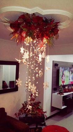 Con un poco de imaginación e ingenio podemos lograr fantásticas decoraciones sin hacer demasiados gastos. Basta con tomar algunas esferas de las que colgamos en el árbol de Navidad, y colocarlas de forma estratégica para obtener un bonito arreglo navideño. *☆*.¸¸.*♡*.¸¸.*☆ Adorna la lámpara del comedor colocado una corona de la cual cuelgan esferas brillantes …