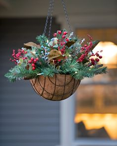 Decorate in Minutes with Our Savannah Pre-Lit, Ever-Green Hanging Basket Christmas Arrangement