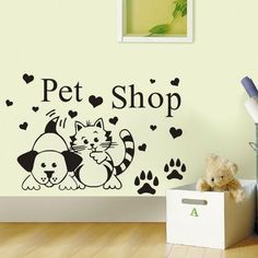 EHome Grooming Salon Cute Dog And Cat Wall Decals Vinyl Removable Adhesive Wall Stickers Home Decor Animals Wallpaper