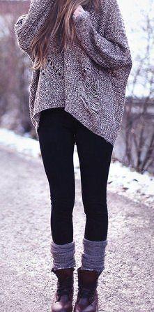 black leggings and oversize shirt/jacket