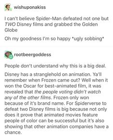 Tbh I wanted incredibles 2 to win because I waited for 15 years for that movie! But spider verse's animation was so unique which is why it deserved the award Marvel Memes, Marvel Avengers, Marvel Comics, Spider Verse, Tumblr Posts, Marvel Cinematic Universe, Just In Case, Deadpool, Nerdy