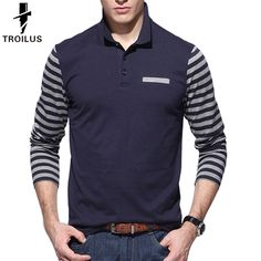 c783f1549 Find More Polo Information about Troilus 2016 Autumn Striped Long Sleeve  Polo Shirt Men Slim Fit