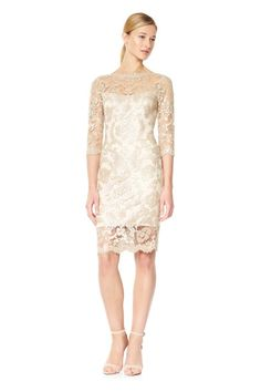 Paillette Embroidered Tulle Sheath with 3/4 Sleeves