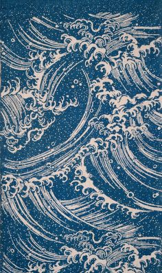 Indigo Japan pattern Length of cotton with design of crested waves in white on a blue ground created by stencil resist-dyeing (katazome or chûgata). gift of Denman Waldo Ross to the MFA on September Japanese Textiles, Japanese Patterns, Japanese Prints, Japanese Design, Japanese Waves, Wave Stencil, Hokusai Great Wave, Art Abstrait, Japan Art