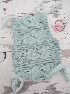 Mint Lace Romper Baby Girl Onsies, Baby Tutu, Cute Baby Girl, Baby Love, Baby Dress, Sewing Baby Clothes, Baby Kids Clothes, Baby Sewing, Newborn Photography Props