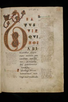 St. Gallen, Stiftsbibliothek, Cod. Sang. 27, p. 21 – 	Parchment · 732 pp. · 32 x 24 cm · St. Gall · about 850-860 Language: 	Latin  How to quote: 	St. Gallen, Stiftsbibliothek, Cod. Sang. 27: Psalterium Gallicanum with commentary (http://www.e-codices.unifr.ch/en/list/one/csg/0027)