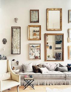 Stephen Shubel Design - living rooms - gold leaf mirrors, beveled mirrors, gold beveled mirrors, mirrors over sofa, mirrors above sofa, gray...