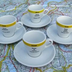 Dolomites espresso cycling gift cup set of espresso cups and saucers.