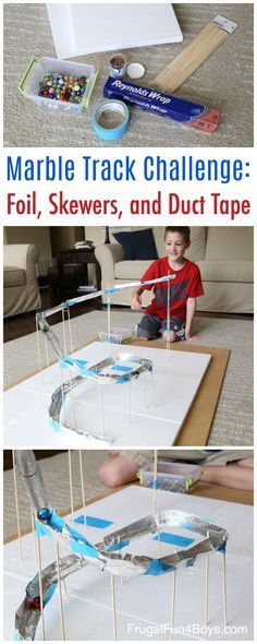 STEM Challenge for Kids: Build a Marble Track with Foil, Bamboo Skewers, and Duct Tape