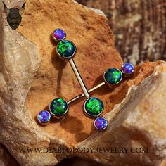 Industrial Strength Titanium Bezel Faux-pal Cluster Barbell, with Black Opals and Sleepy Purple Opals. Great for Industrial or Nipple Piercings. (TBB+TFPCGC-15)