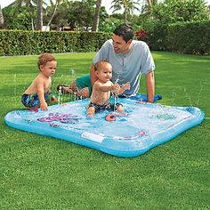 Inflatable Wading Pool with Fountain. You can turn up pressure through your garden hose to make fountains. 1 year +.